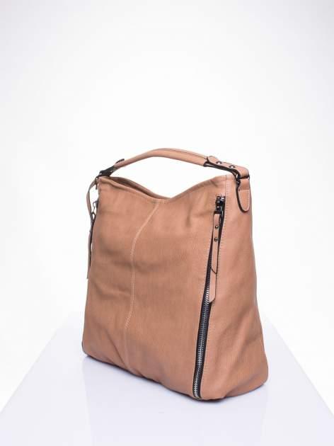 Khaki torba hobo z suwakami po bokach                                  zdj.                                  2