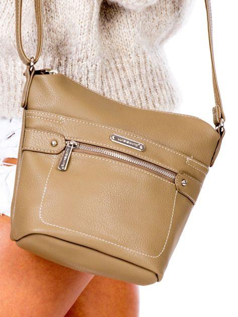 Khaki torba listonoszka z kieszeniami                               zdj.                              2