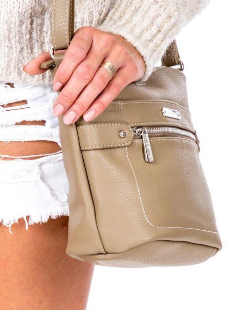 Khaki torba listonoszka z kieszeniami                               zdj.                              3