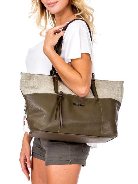 Khaki torba shopper z materiałową wstawką                              zdj.                              5