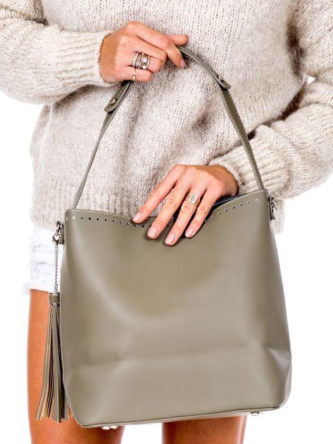 Khaki torba z ażurowaniem                              zdj.                              4