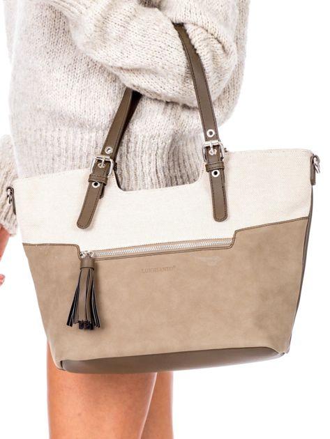 Khaki torba z chwostem i odpinanym paskiem                              zdj.                              2