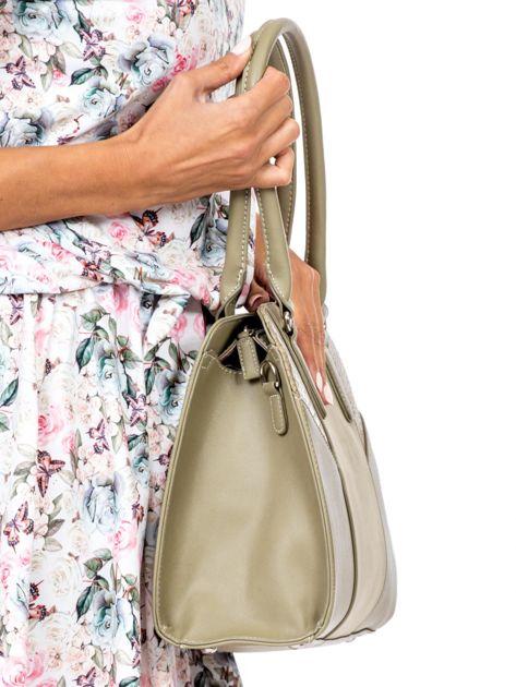 Khaki torba z wstawkami z motywem skóry węża                              zdj.                              3
