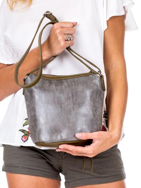 Khaki torebka damska z plecionym modułem                              zdj.                              4