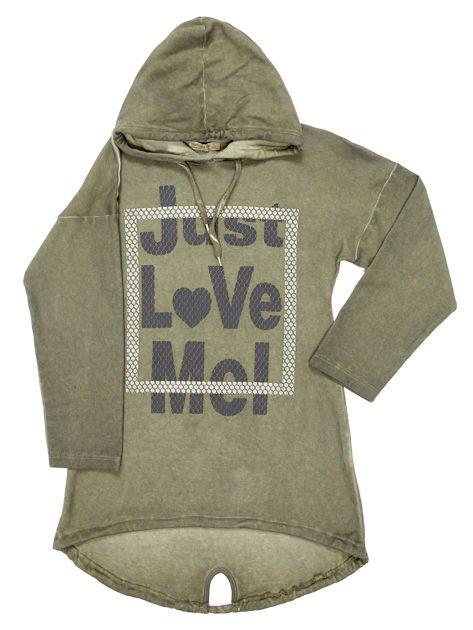 Khaki tunika dla dziewczynki z kapturem i napisem                              zdj.                              5