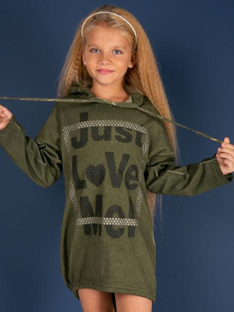 Khaki tunika dla dziewczynki z kapturem i napisem                              zdj.                              1