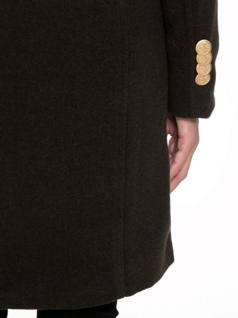 Khaki wełniany płaszcz dwurzędowy z futrzanym kołnierzem                                  zdj.                                  10