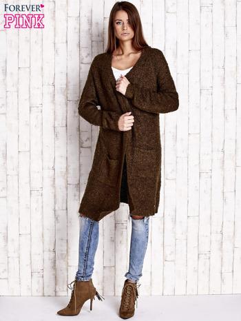 Khaki wełniany sweter bouclé z kieszeniami                                  zdj.                                  2