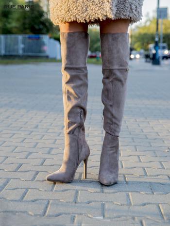 Khaki zamszowe kozaki faux suede na szpilkach za kolano                                  zdj.                                  4