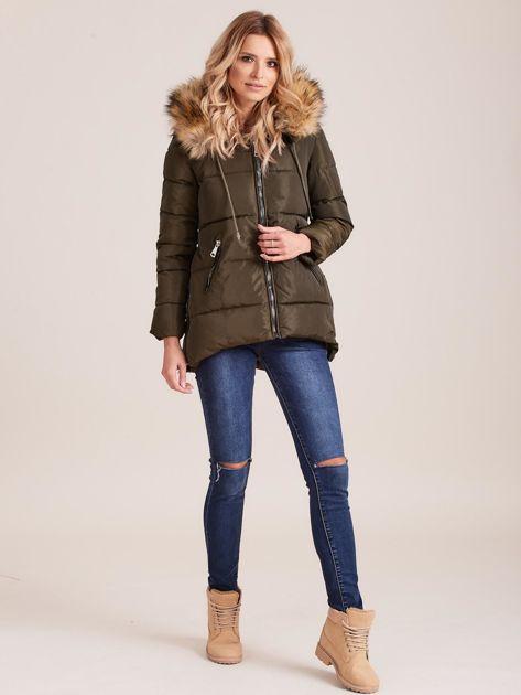 Khaki zimowa kurtka z futerkiem                              zdj.                              4