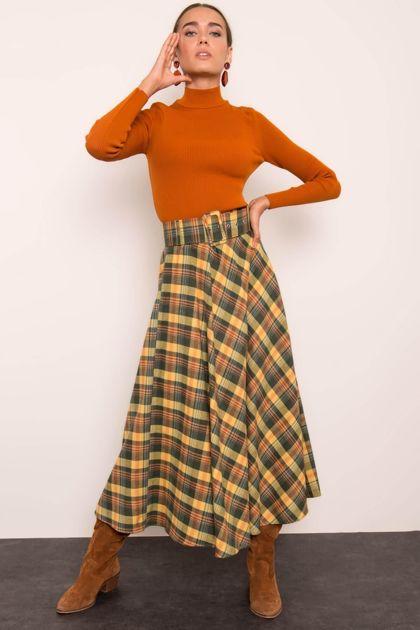 Khaki-żółta spódnica BSL