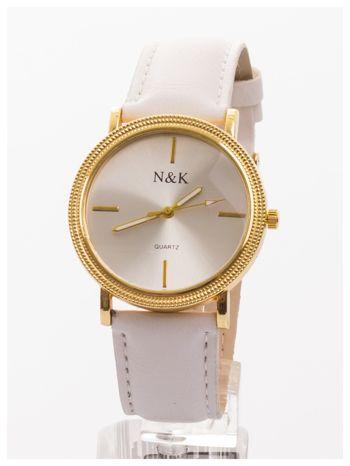 Klasyczny damski zegarek z elegancką i czytelną tarczą. Biały skórzany pasek. Ozdobna koperta
