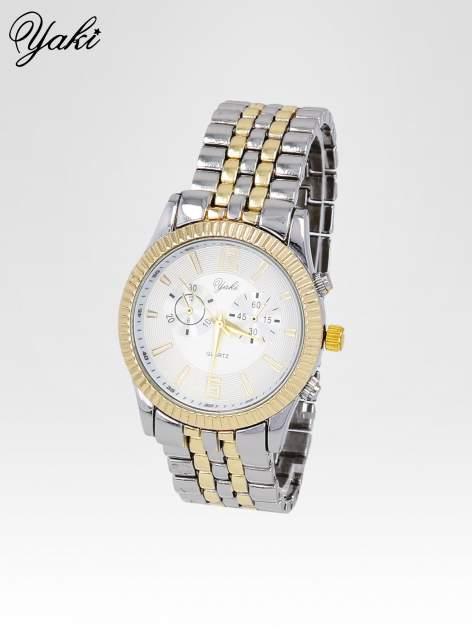 Klasyczny zegarek damski na bransolecie w kolorze srebra i złota                                  zdj.                                  2