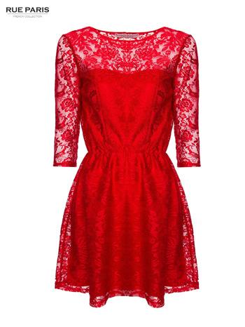 Kloszowana sukienka pokryta na górze czerwoną przezroczystą koronką                                  zdj.                                  1