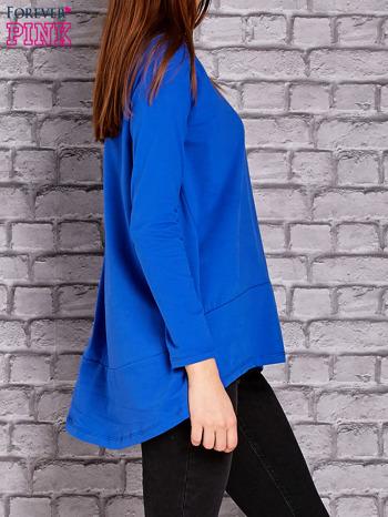 Kobaltowa bluzka z wiązaniem na plecach                                  zdj.                                  3