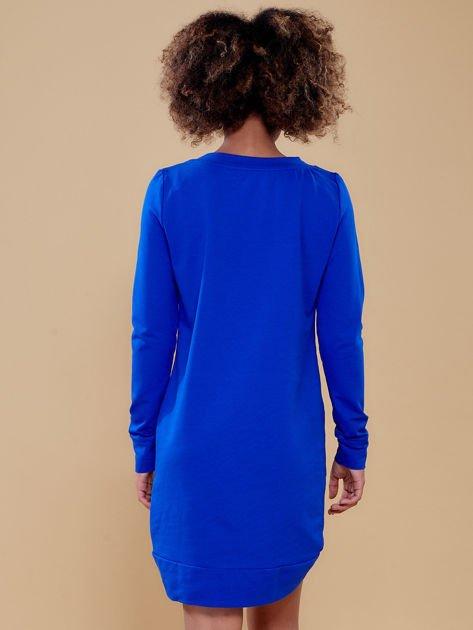 Kobaltowa dresowa tunika basic                              zdj.                              2