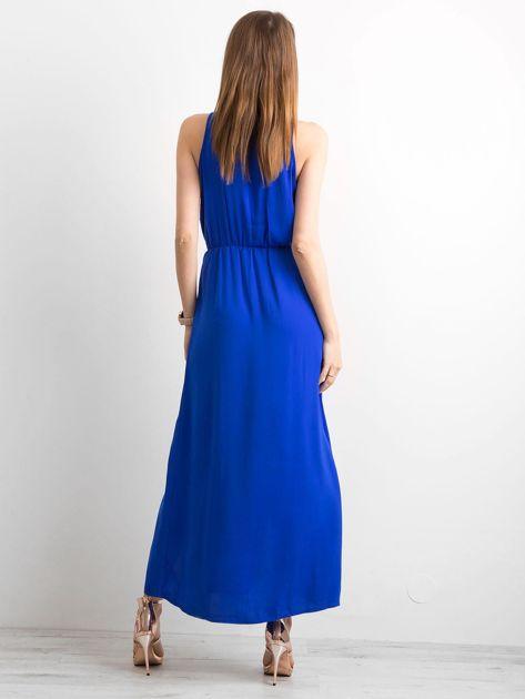 Kobaltowa sukienka maxi z rozcięciami                              zdj.                              2