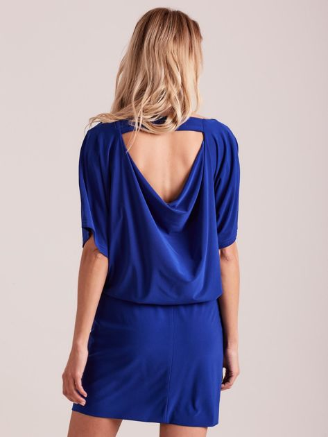 d96b1065ce Kobaltowa sukienka z dekoltem na plecach - Sukienka koktajlowa ...
