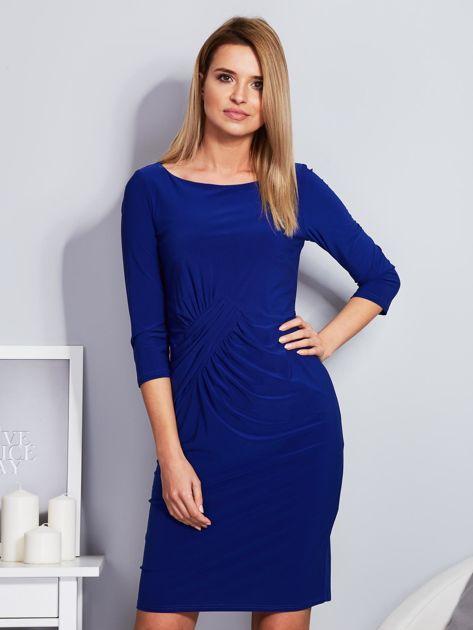Kobaltowa sukienka z drapowaniem                                  zdj.                                  1