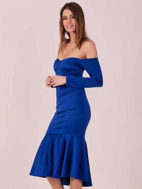 Kobaltowa sukienka z szeroką falbaną na dole                              zdj.                              2