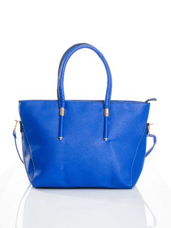 Kobaltowa torba shopper efekt saffiano