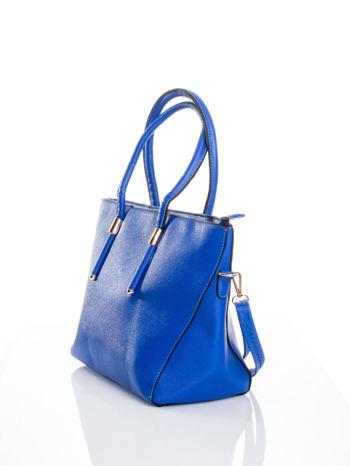 Kobaltowa torba shopper efekt saffiano                                  zdj.                                  4
