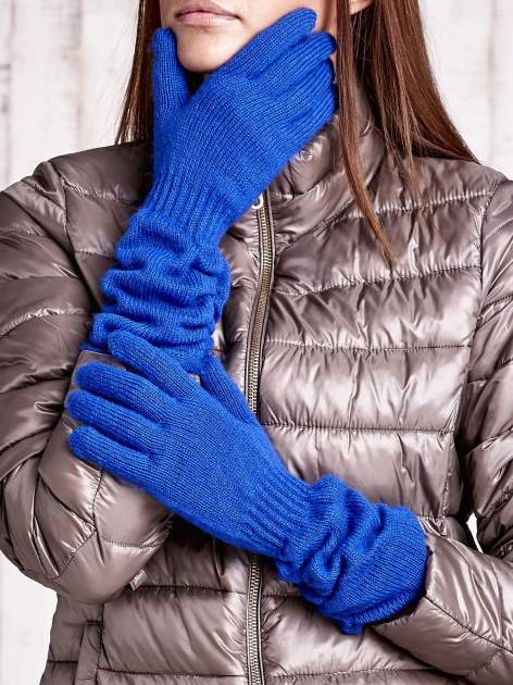 Kobaltowe długie rękawiczki z marszczonym ściągaczem
