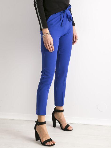 Kobaltowe spodnie z wiązaniem                               zdj.                              2
