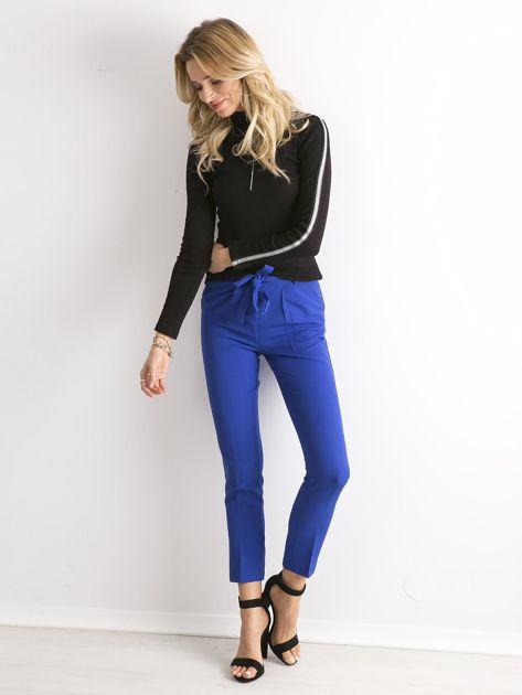 Kobaltowe spodnie z wiązaniem                               zdj.                              1