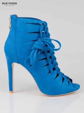 Kobaltowe sznurowane botki faux suede Eleonore lace up z zamkiem                                  zdj.                                  1