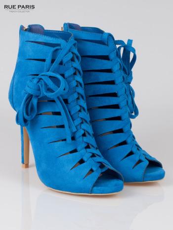 Kobaltowe sznurowane botki faux suede Eleonore lace up z zamkiem