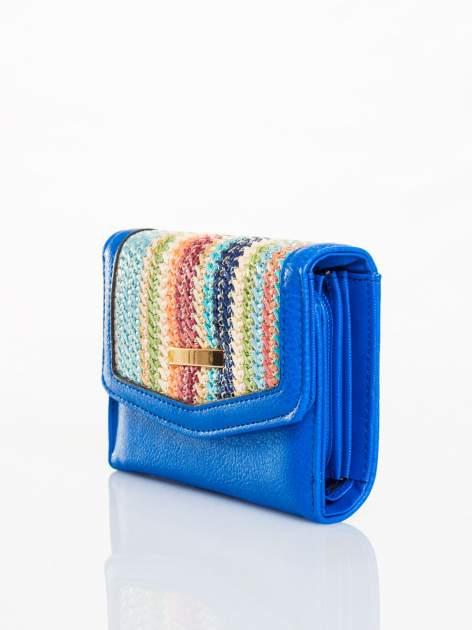 Kobaltowy portfel z plecionką                                  zdj.                                  2