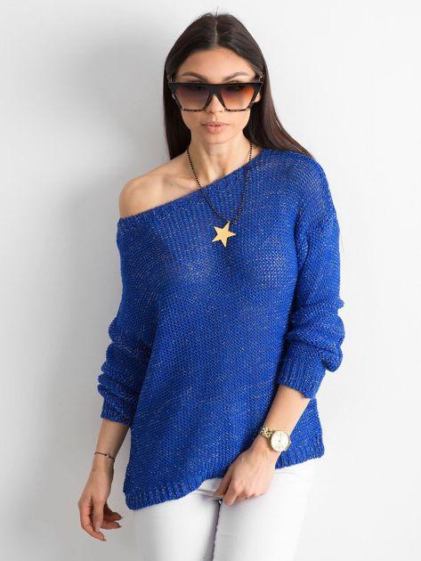 Kobaltowy sweter z metaliczną nicią                              zdj.                              1
