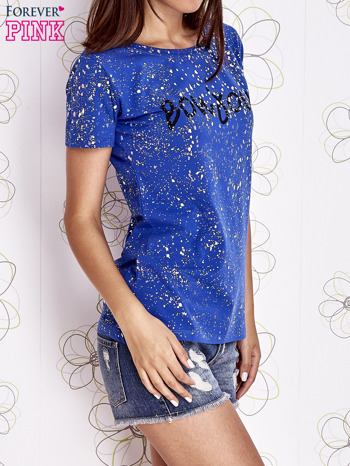 Kobaltowy t-shirt z napisem BONJOUR                                  zdj.                                  3