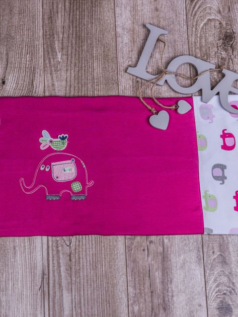 Kocyk niemowlęcy dla dziewczynki 100% bawełniany w słoniki 80x80 różowy                              zdj.                              2