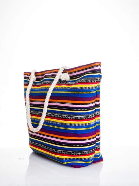 Kolorowa torba plażowa w paski                                  zdj.                                  4