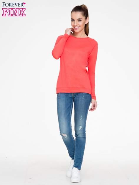 Koralowa bawełniana bluzka z rękawami typu reglan                                  zdj.                                  2