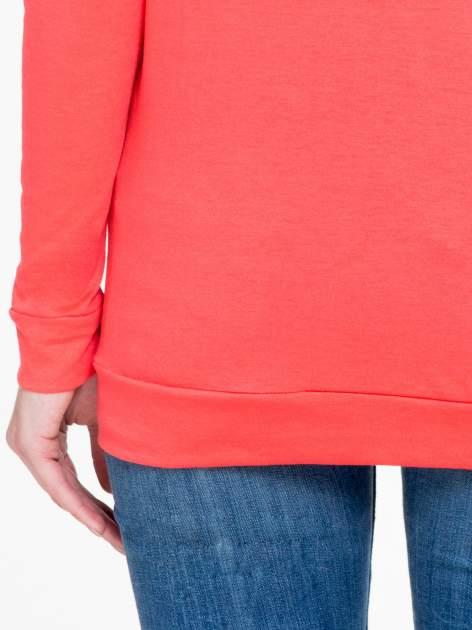 Koralowa bawełniana bluzka z rękawami typu reglan                                  zdj.                                  8