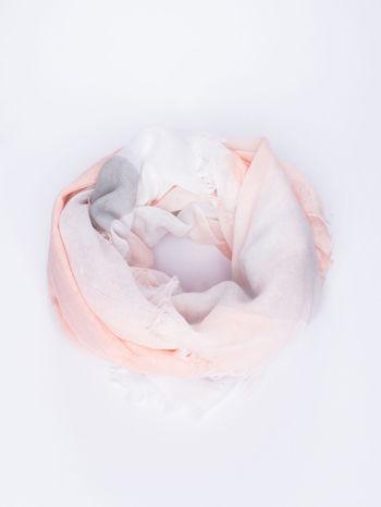 Koralowa bawełniana chusta damska duża w pasy                                  zdj.                                  1