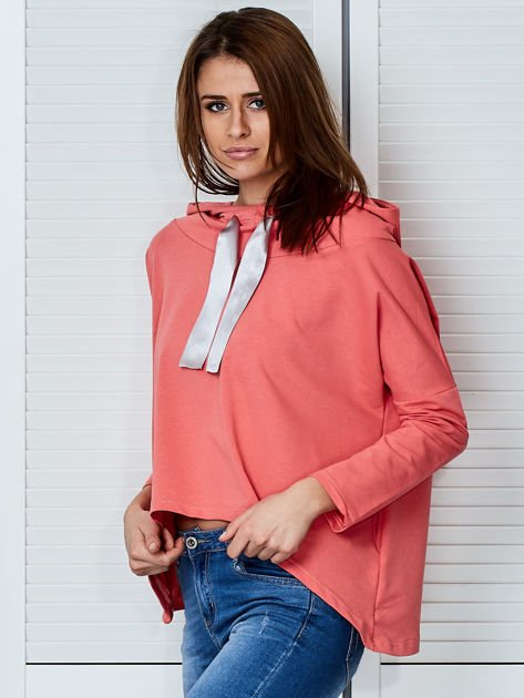 Koralowa bluza z kapturem i wstążką                                  zdj.                                  3
