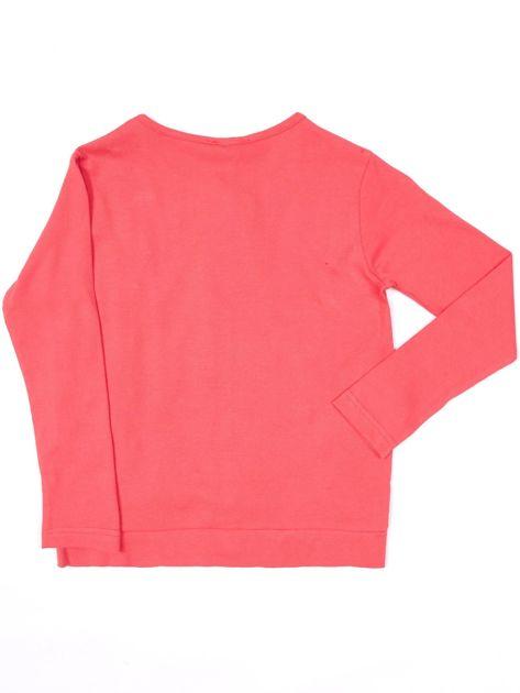 Koralowa bluzka dla dziewczynki z perełkami                              zdj.                              2