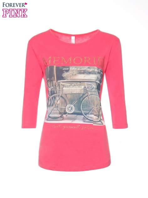Koralowa bluzka z złotym brokatowym napisem MEMORIES                                  zdj.                                  5