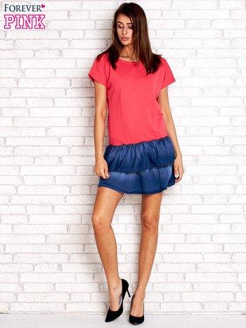 Koralowa sukienka dresowa z jeansowym dołem                                  zdj.                                  4