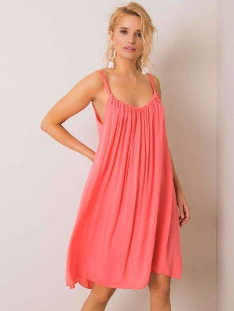 Koralowa sukienka na ramiączkach Polinne