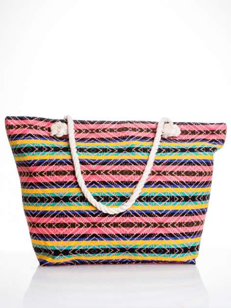 Koralowa torba plażowa w azteckie wzory                                  zdj.                                  1
