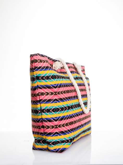 Koralowa torba plażowa w azteckie wzory                                  zdj.                                  3