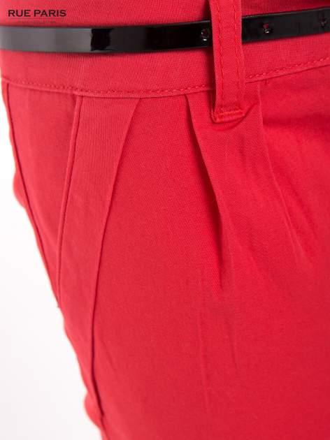 Koralowe proste spodnie z paskiem                                  zdj.                                  8
