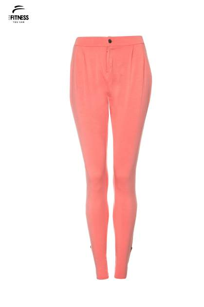Koralowe spodnie dresowe damskie z podwijaną nogawką                                  zdj.                                  9