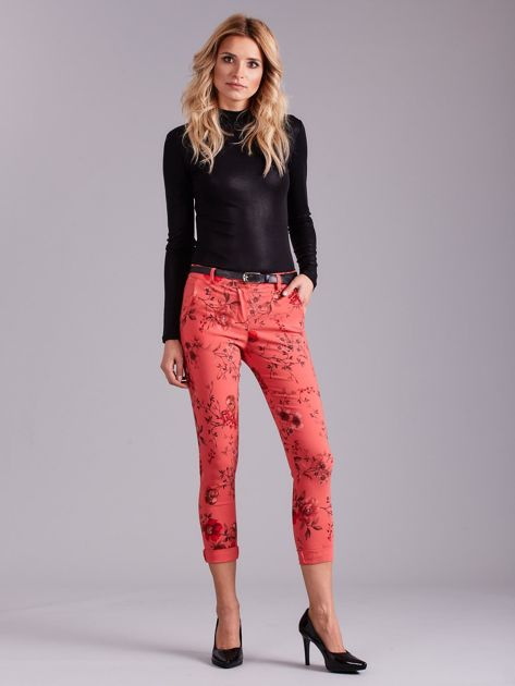 Koralowe spodnie w kwiaty                              zdj.                              5
