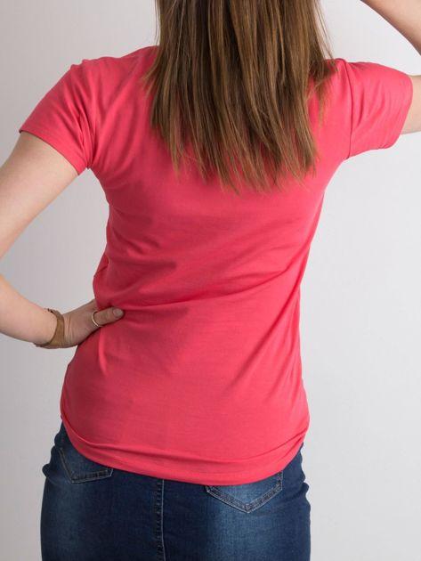 Koralowy damski t-shirt z bawełny                               zdj.                              2